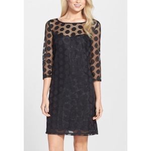 Betsey Johnson Black Mesh Polka Dot Shift Dress